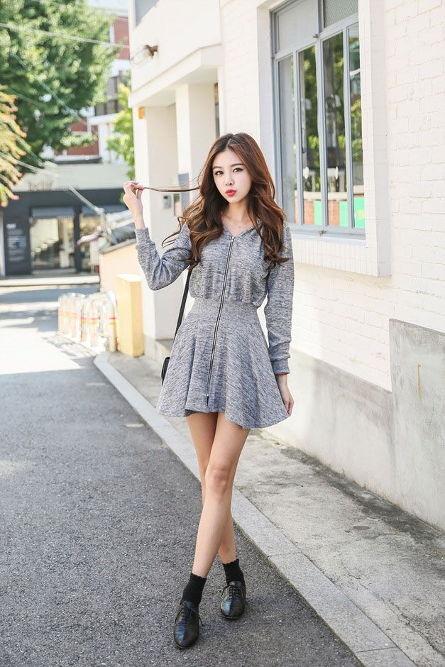 Ruffle Zip Up Dress Korean Dresses Pinterest Ruffles Korean And Korean Fashion
