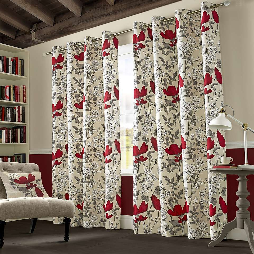 Red And Grey Curtains Dunelm