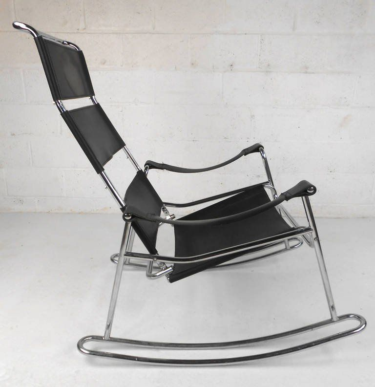 Delightful Mid Century Modern Wassily Style Leather Strap And Chrome Rocking Chair