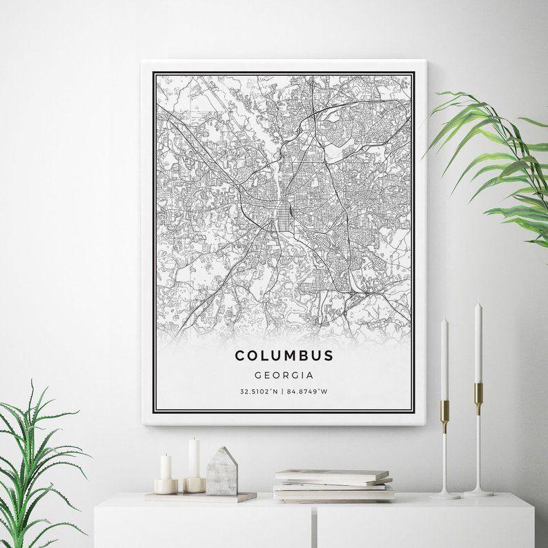 Columbus Canvas Art Etsy Squarious Map Canvas Print Map Wall Art Map Canvas