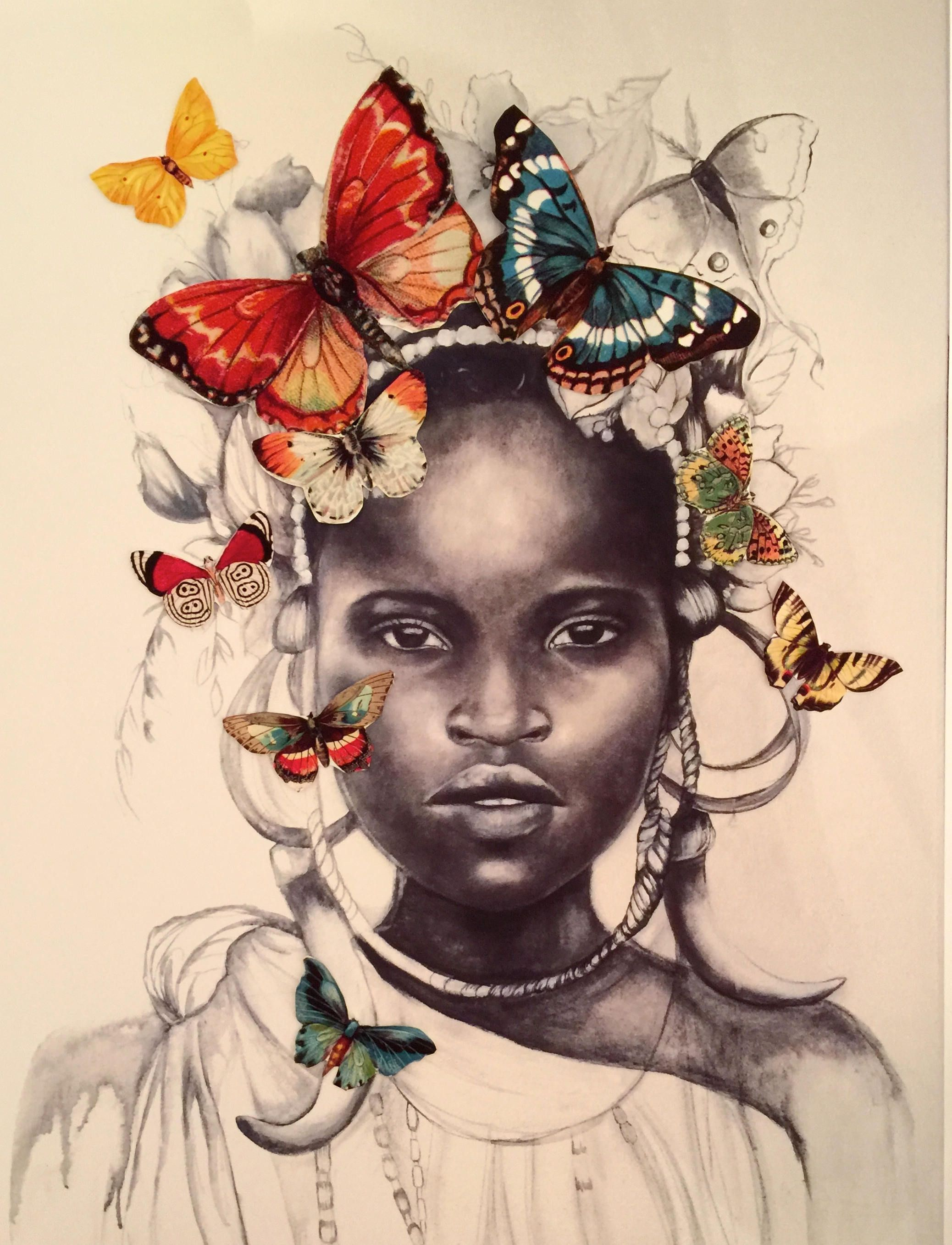 Female empowerment,art print ,drawing, love, portrait artwork ,claudia tremblay african girl with butterflies