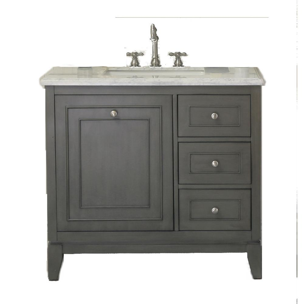 37 In W X 22 In D X 38 In H Bath Vanity In Silver Gray With Marble Vanity Top In Carrara White With White Basin Wlf7034 36 The Home Depot Marble