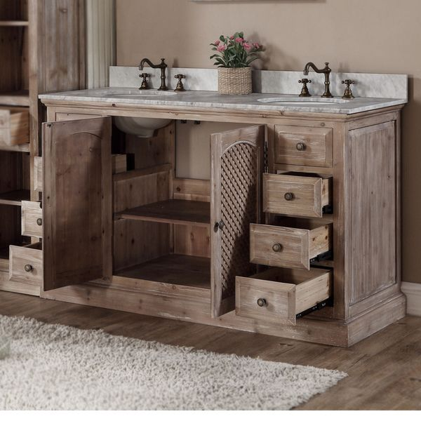 Rustic Style Matte Ash Grey Limestone Top 60 Inch Double Sink