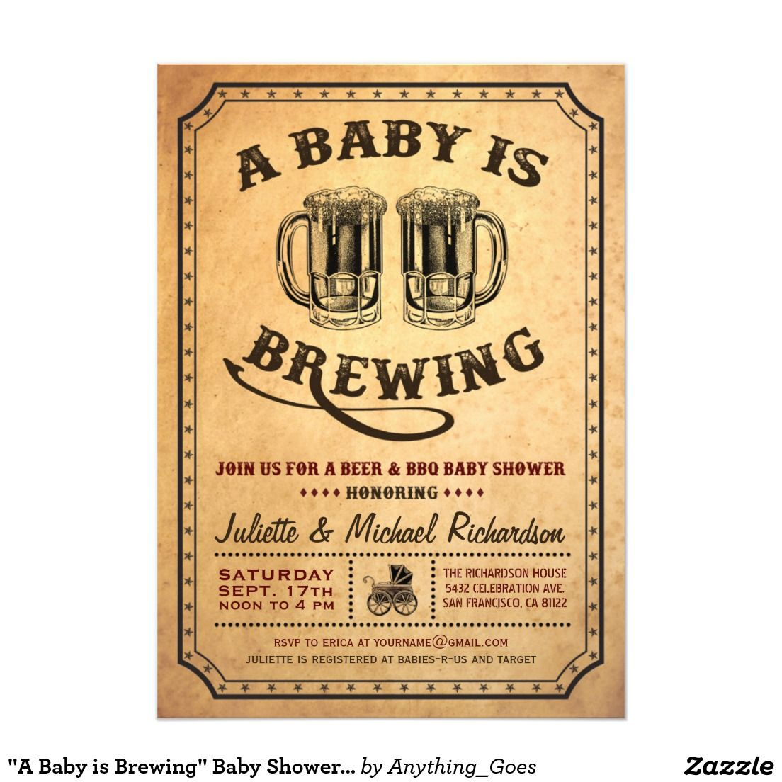A Baby Is Brewing Baby Shower Bbq Invitations