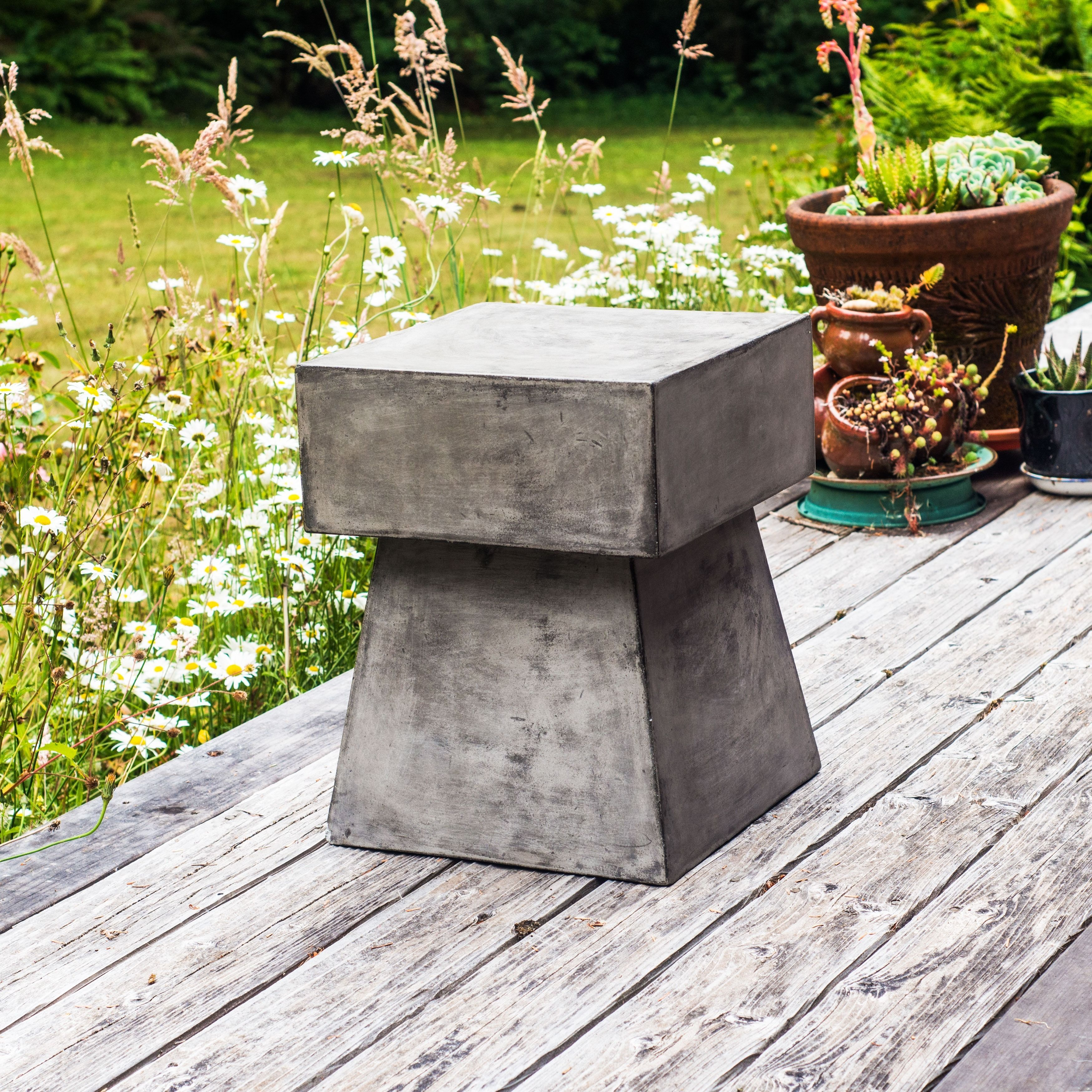 Marvelous Stone And Natural Fiber Cements Make This Beautiful Squared Mushroom Side  Table Simple And Practical. Images