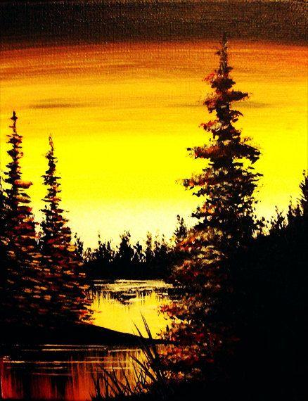 8x10 Original Silhouette Landscape Painting By Kkfineartstudio 39 99 Easy Landscape Paintings Landscape Art Landscape Paintings Acrylic