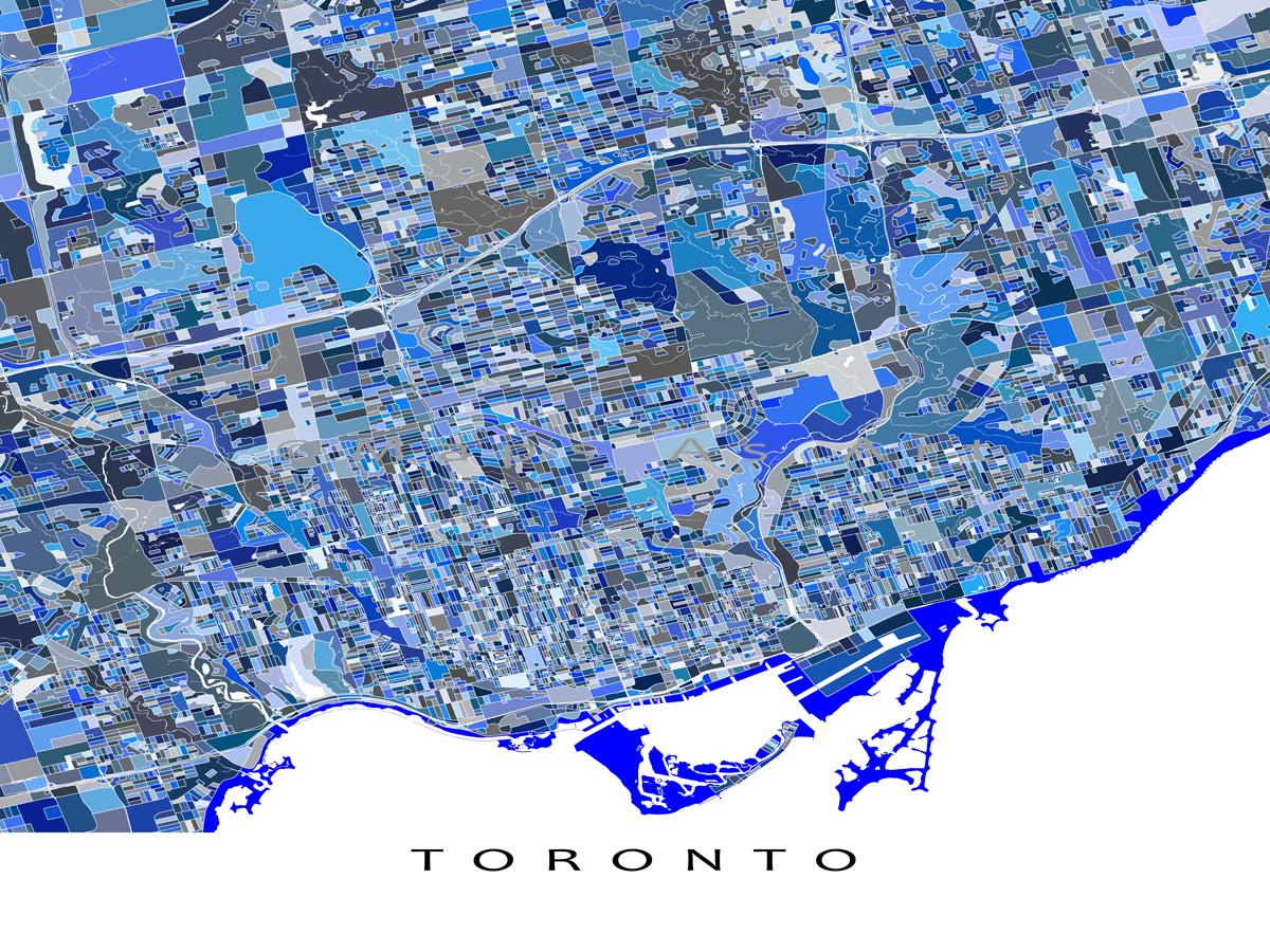 Toronto Map Print Toronto Canada Toronto Art Ontario Blue Toronto