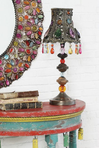 Gypsy Beaded Table Lamp - Bohemian Decor  $132.00