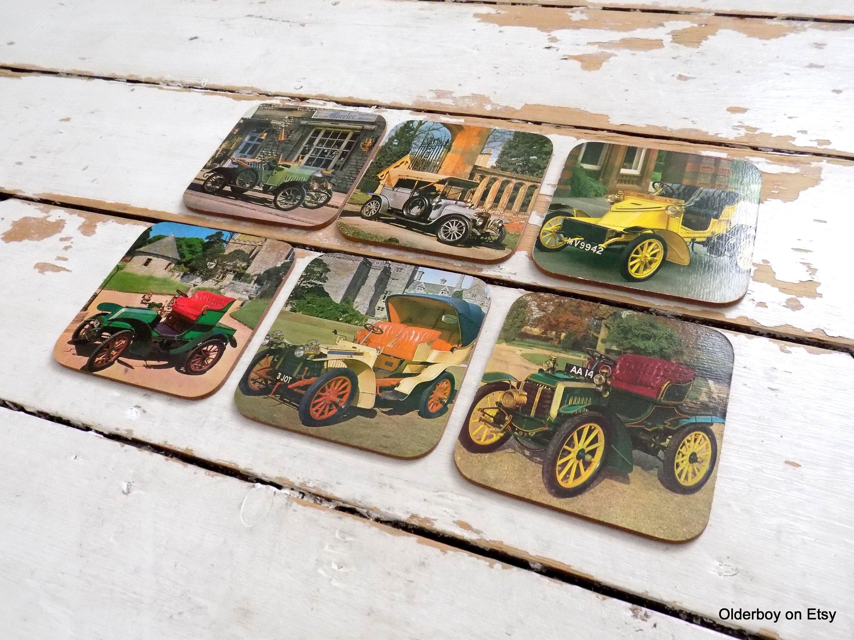 Vtg 6 cork COASTERS Old Cars vintage pictures vtg car