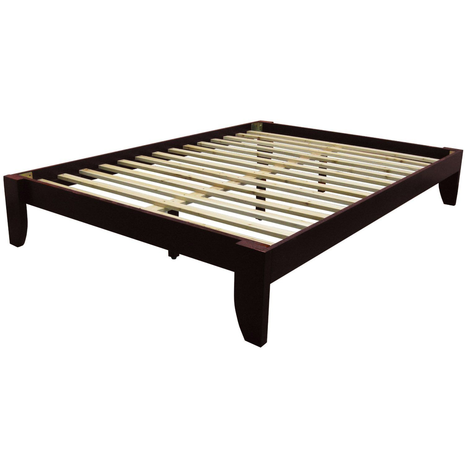 Queen size Platform Bed Frame in Mahogany Wood Finish 1