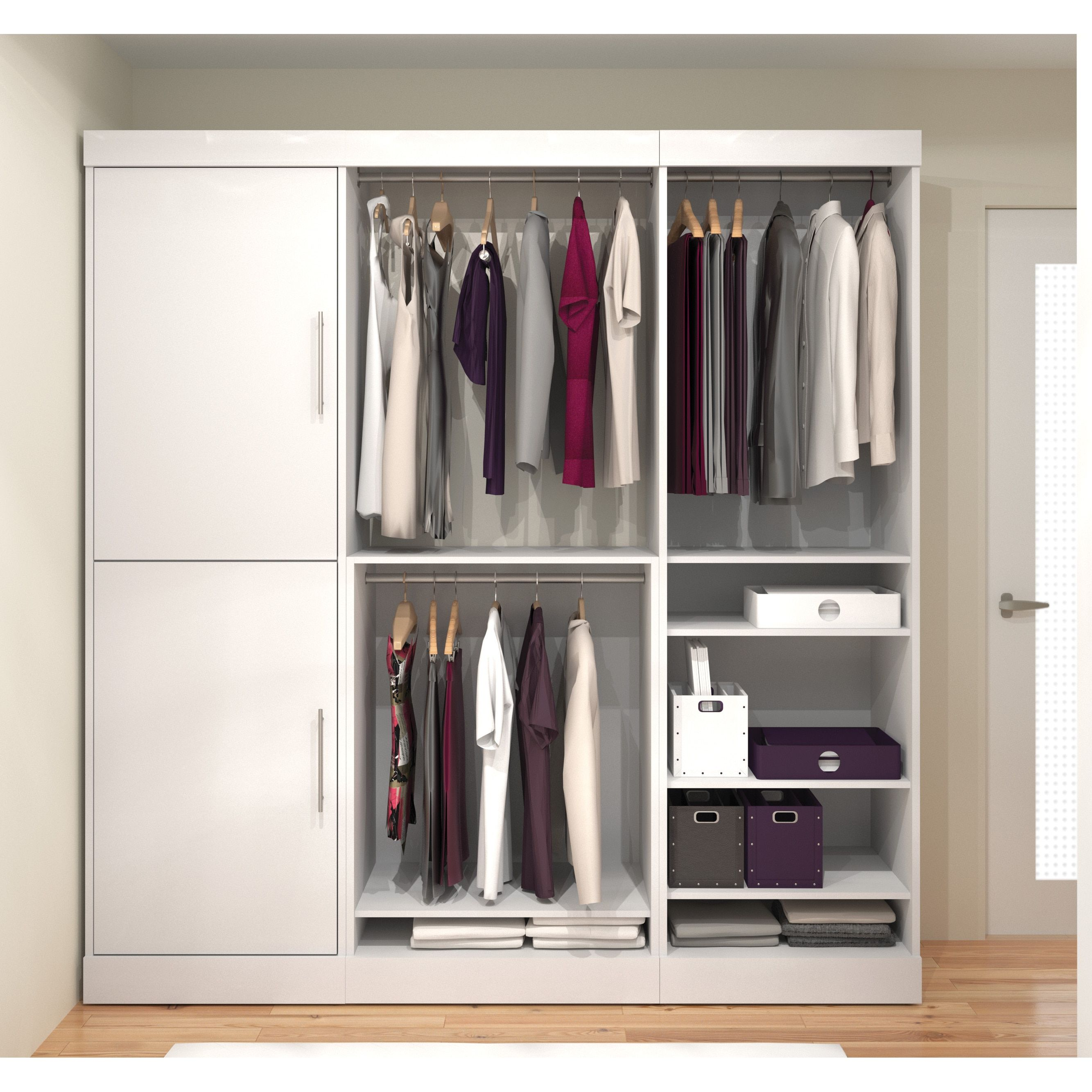 Classic Storage Kit   Create An Efficient Closet Layout With The Affordable  And Easy To Install Nebulla By Bestar 25852 80 In.