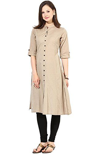 79ce967445 Saiveera Fashion Latest Cream Cotton Long Casual Kurti_SV-1625 (Large)