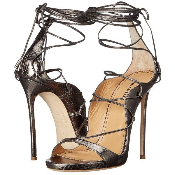 93e86e5edb9a39 DSQUARED2 Riri Strappy Sandal (Gunmetal) Women s Sandals (5.205 RON) ❤  liked on Polyvore featuring shoes