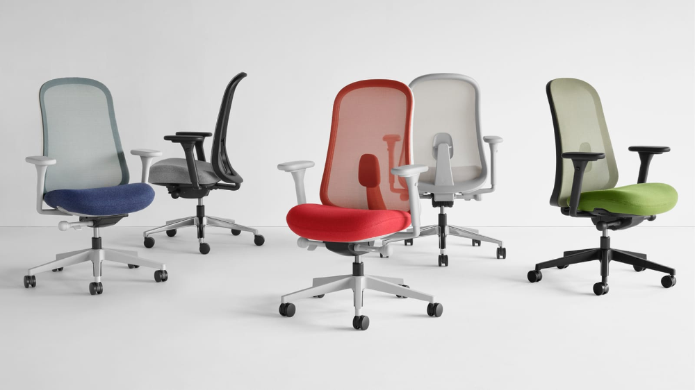 Five Lino Chairs in blue, black, gray, red and green