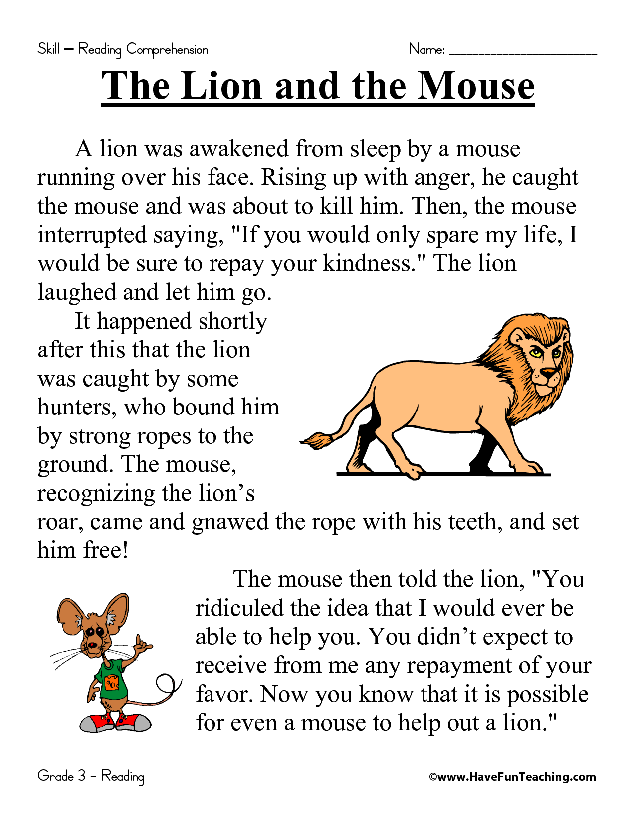 The Lion an the mouse   Third grade reading comprehension [ 1650 x 1275 Pixel ]
