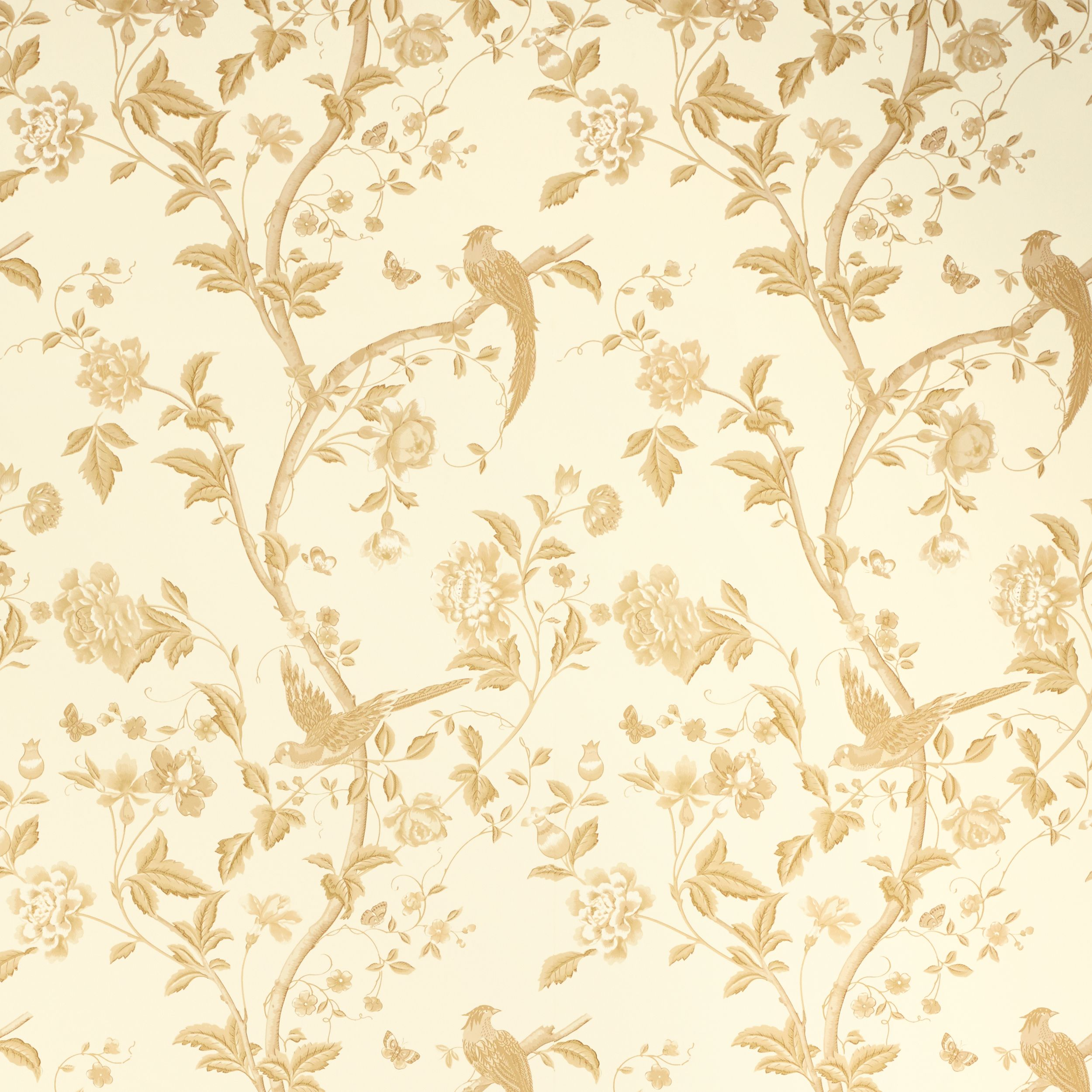 Laura Ashley Summer Palace Gold Floral Wallpaper Grey Floral