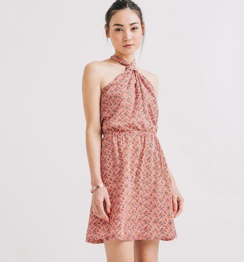 8fbebbdc94557 Robe imprimée nouée Femme imprimé rouge foncé - Promod