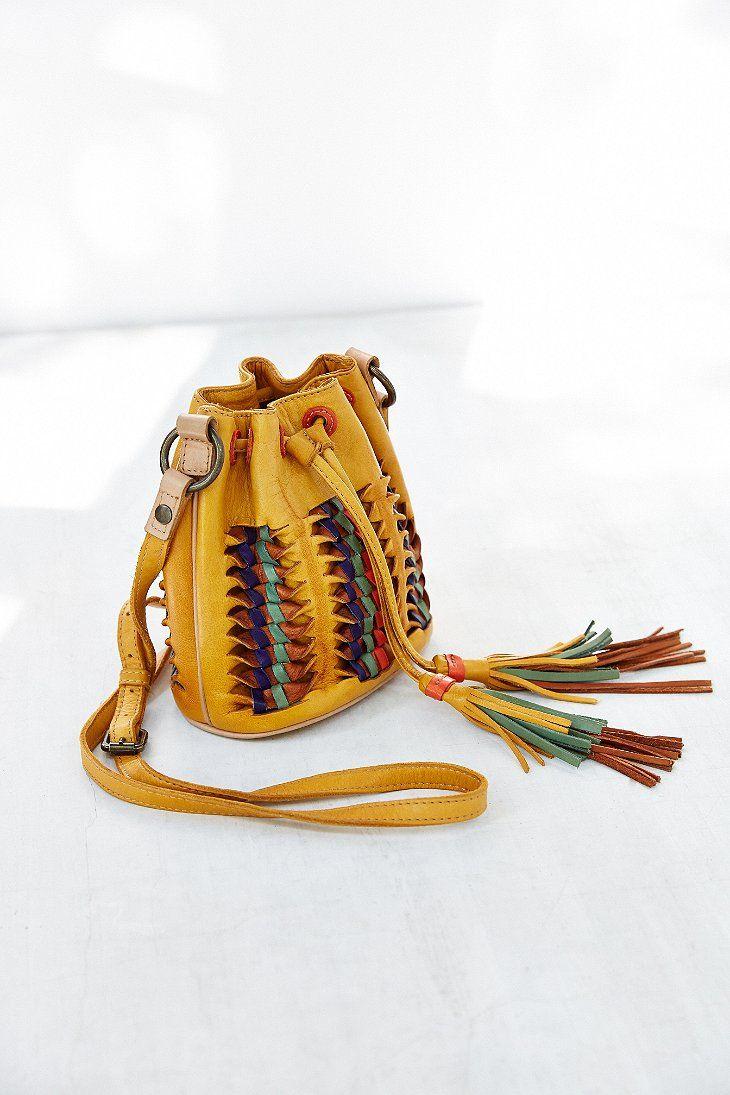 Frye Heather Woven Leather Bucket Bag
