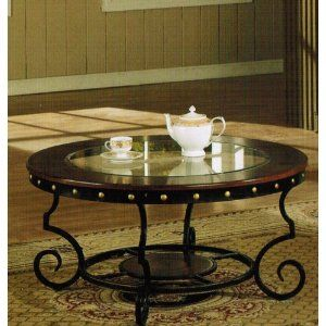 Coffee Table With Nail Head Trim In Two Tone Finish Review   Thomasville  Furniture Glass Top