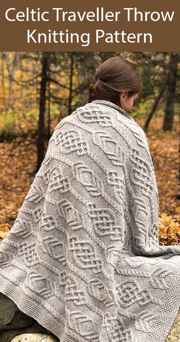 Photo of Knitting Pattern for Celtic Traveller Cable Throw 3 Sizes Baby Blanket or Throw