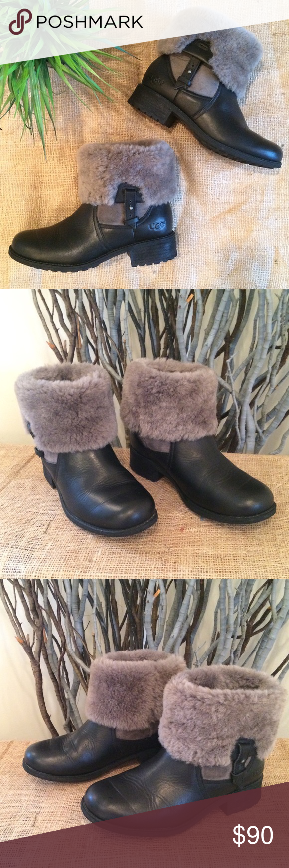 a0a4fea0714 UGG Chyler Fold Down Boot Pre-owned UGG Chyler Black Leather Fold ...