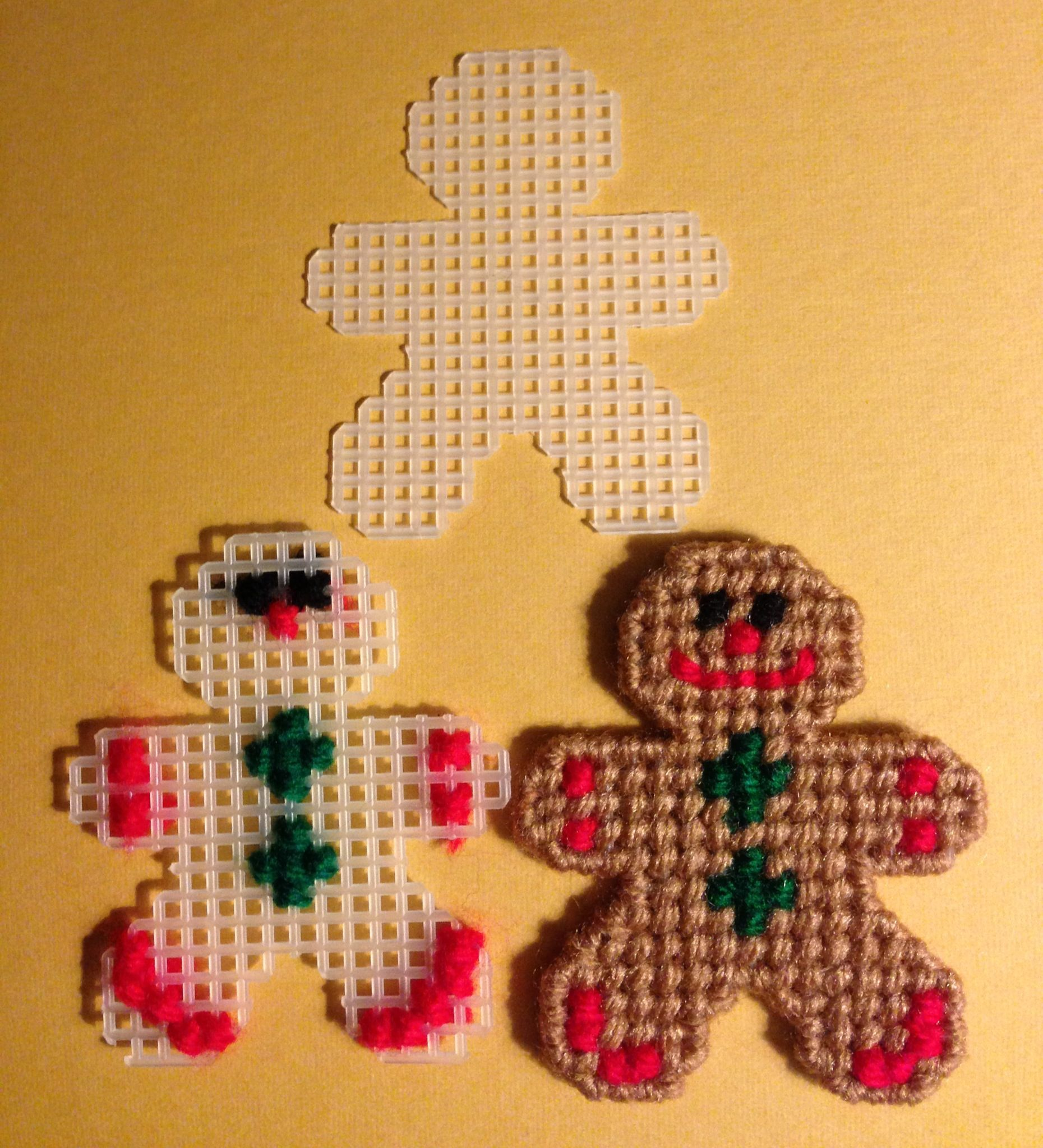 Gingerbread man ornament craft - Gingerbread Man Pattern Maybe Attached To A Plastic Canvas Napkin Holder