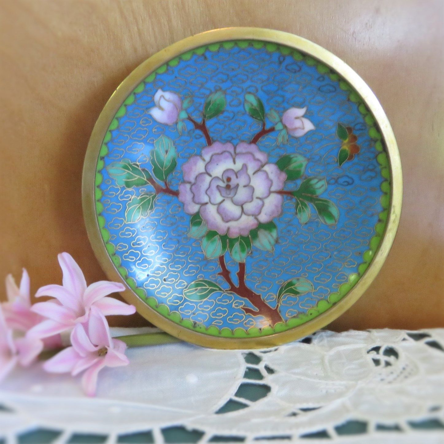 Vintage Cloisonne Dish Small Enameled Brass Plate Hand Painted Chinese Cloisonne Blue Pink Asian Home Decor Decorative Plates Hand Painted