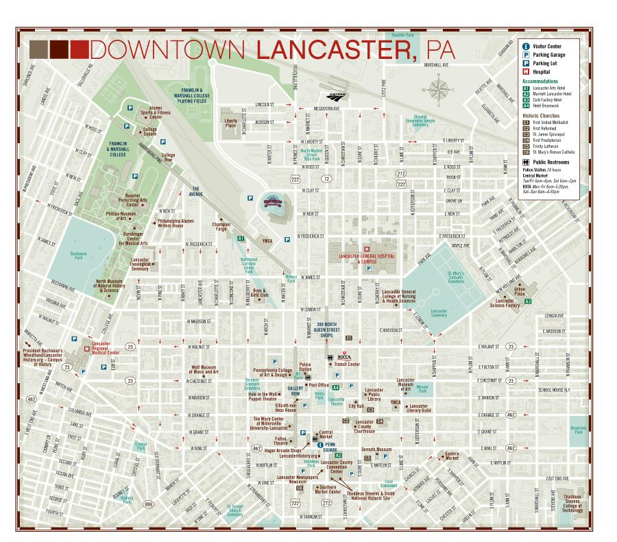 Detailed City Street way finder map of Lancaster, PA with building on