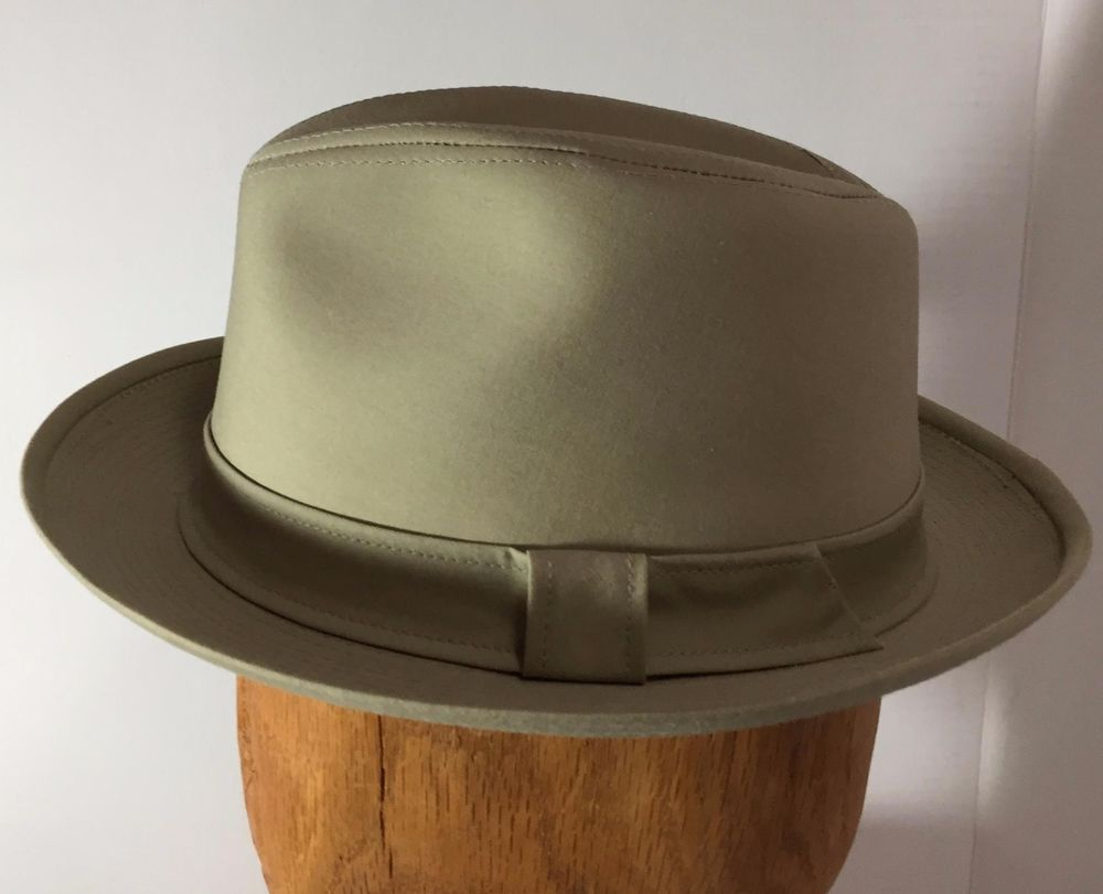 899f555bd Vintage A Adams & Spire Mens Fedora Hat Sz Medium Tan Canvas Made in ...