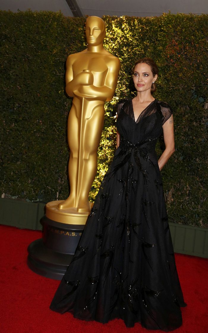 Angelina Jolie looked stunning in a black, sequin