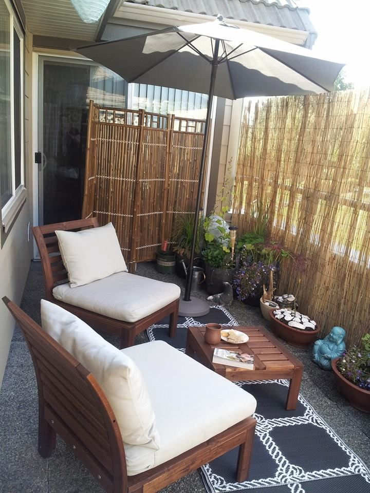 My Personal Balcony Retreat With Reed Privacy Screen Small Apartment Patio Balcony Decor Apartment Balcony Garden