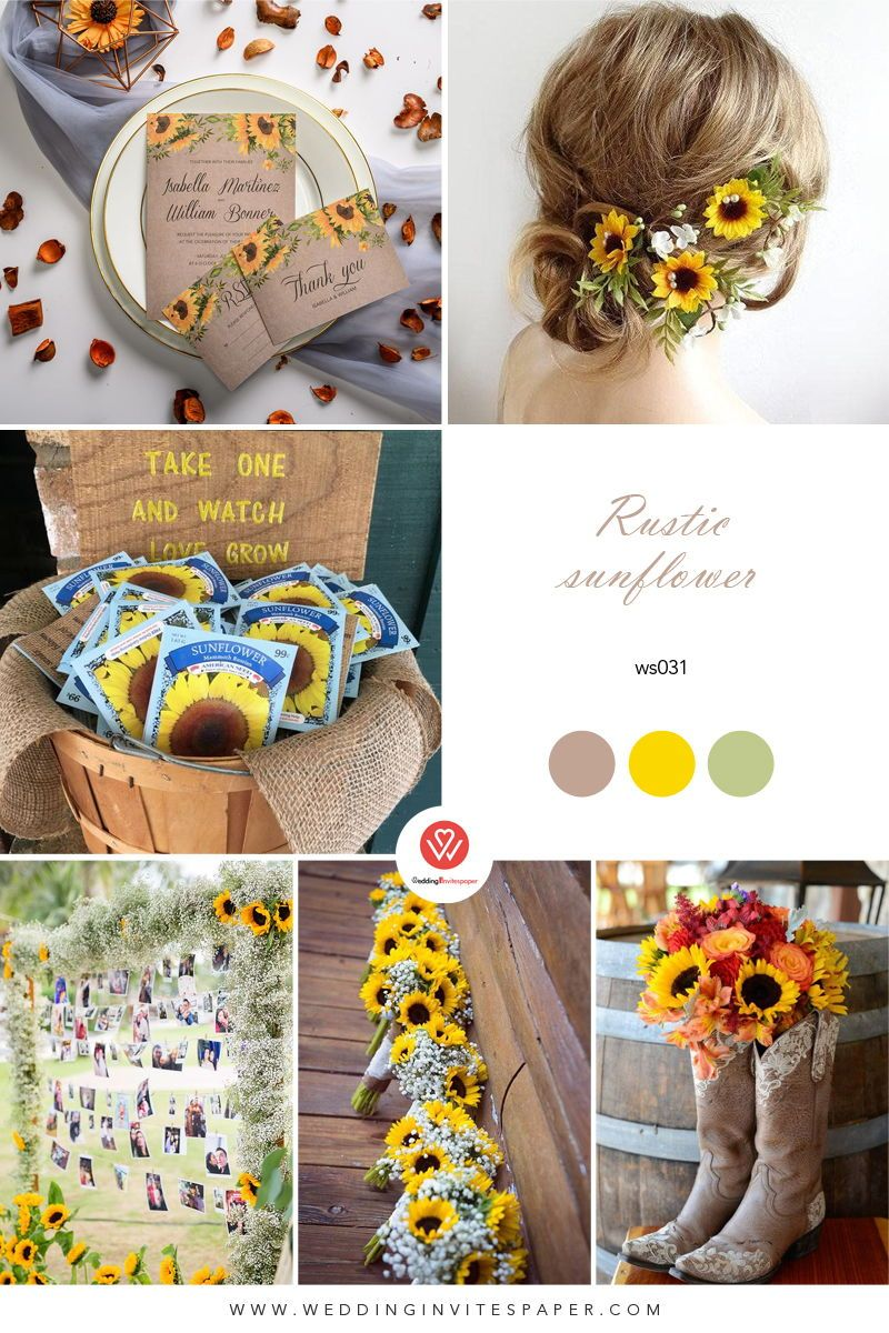Rustic sunflower wedding invitations spring summer and