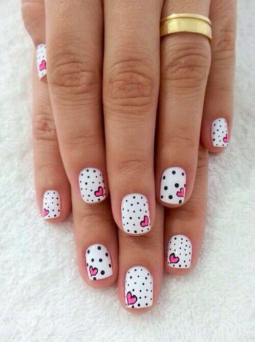 Mini hearts + mini polka dots | Uñas | Pinterest | Mini heart, Minis ...