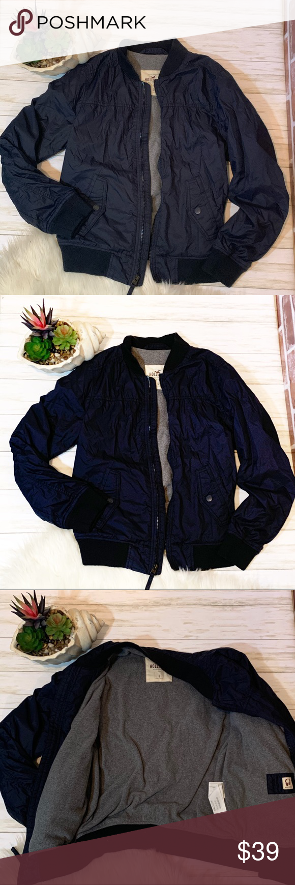 Photo of Hollister Navy Gray winter jacket s Hollister navy blue with warm soft gray lini…