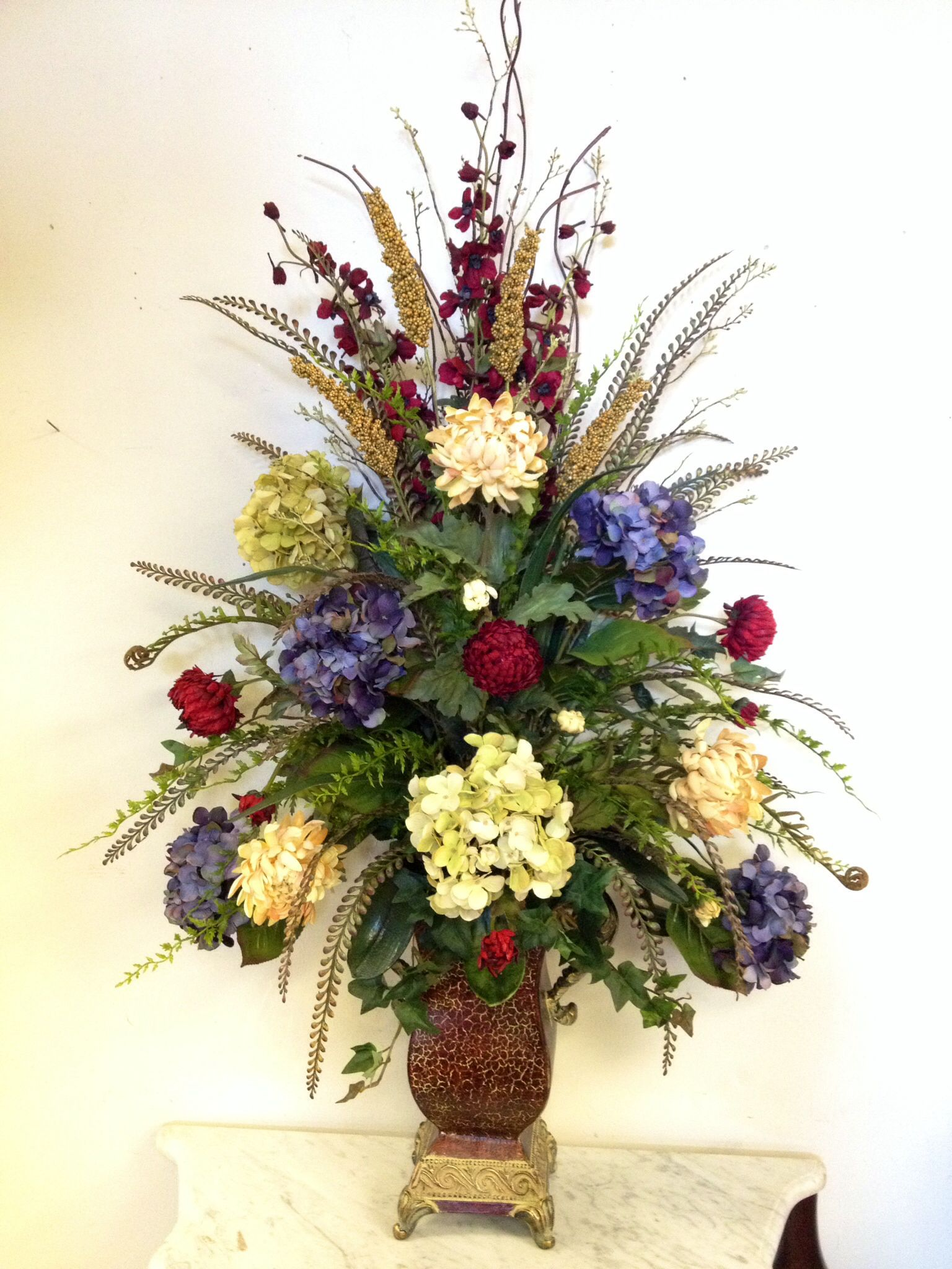 Fake Floral Arrangements For Home Hydrangea Floral Arrangement Designed By Arcadia Floral