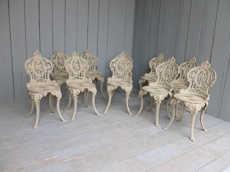 Set of 10 Vintage Reclaimed Cast Iron Garden Chairs,buy,sell,for sale - Set Of 10 Vintage Reclaimed Cast Iron Garden Chairs,buy,sell,for