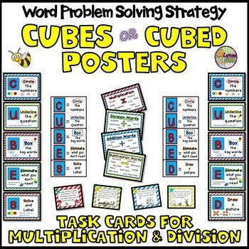 CUBES Word Problem Strategy Posters with Multiplication and Division ...