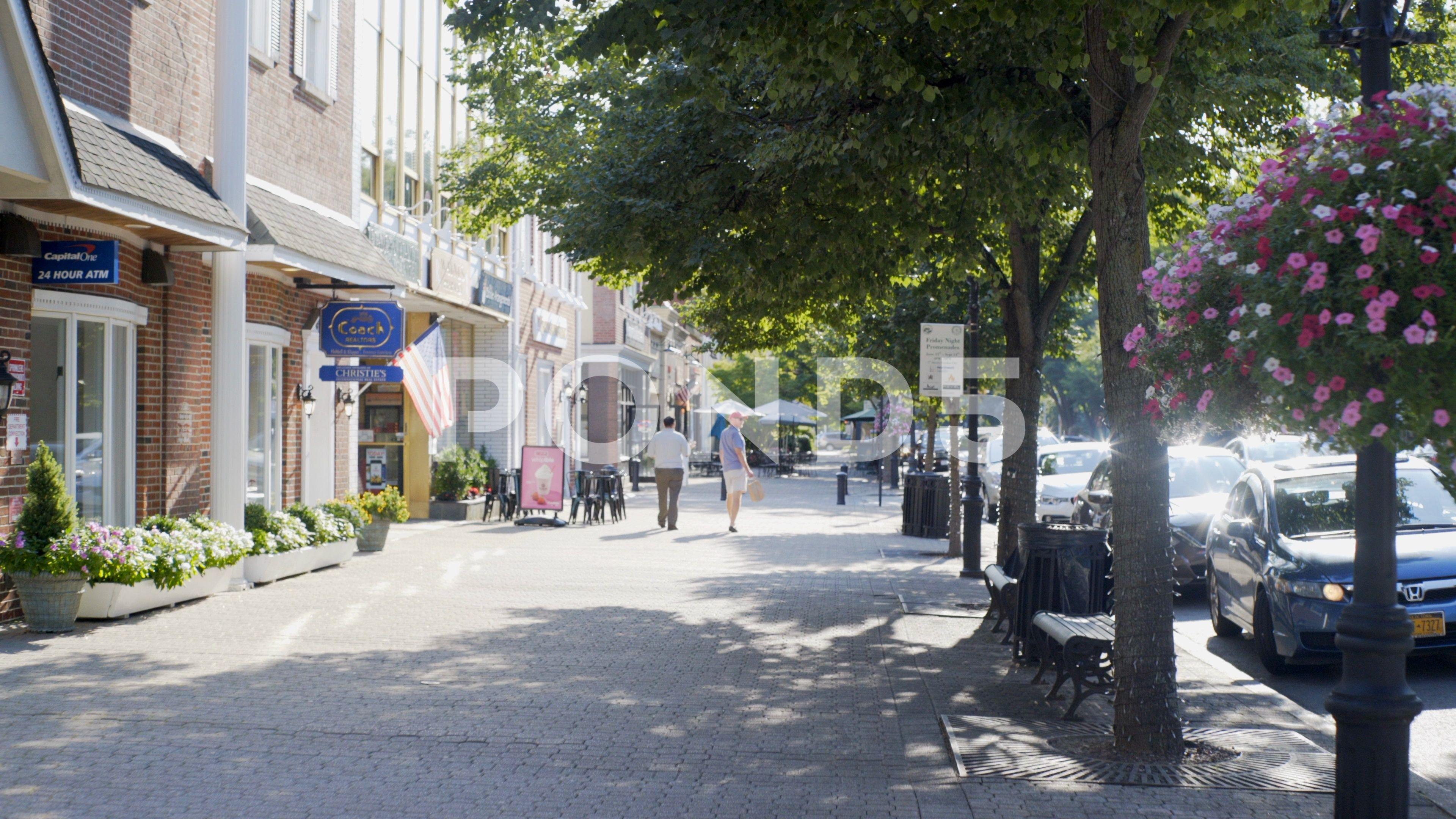 Pov Walking By Shops On The Sidewalk In Garden City Long Island
