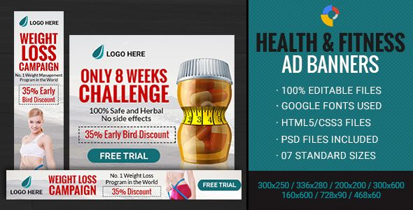 Health Fitness Weight Loss Banner 7 Sizes Code Scripts And