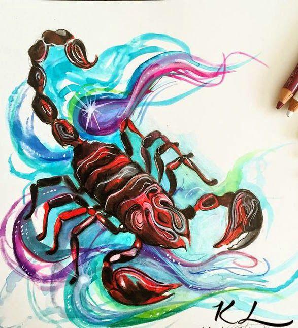 colourful scorpion scorpio zodiac symbol tattoo ideas