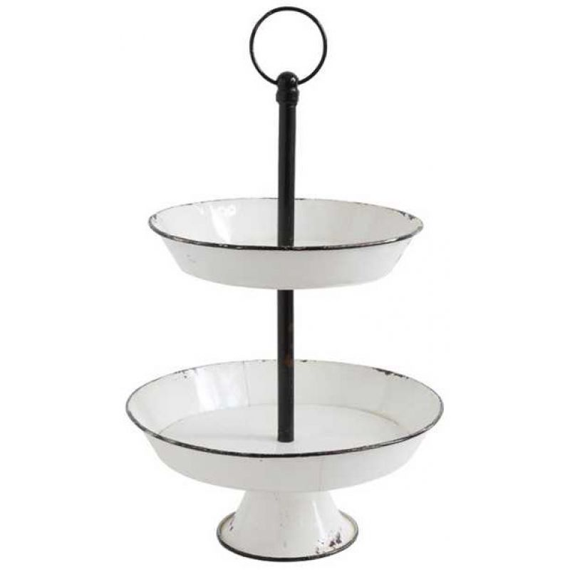 Enamel Two Tier Stand Metal Trays Metal Decor Tiered Tray