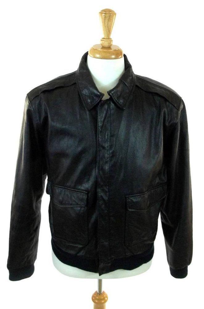 Vintage Black 100% Real Leather STEEL Fitted Hip Length Men's Jacket Coat Blazer Size M - L u99WiT7