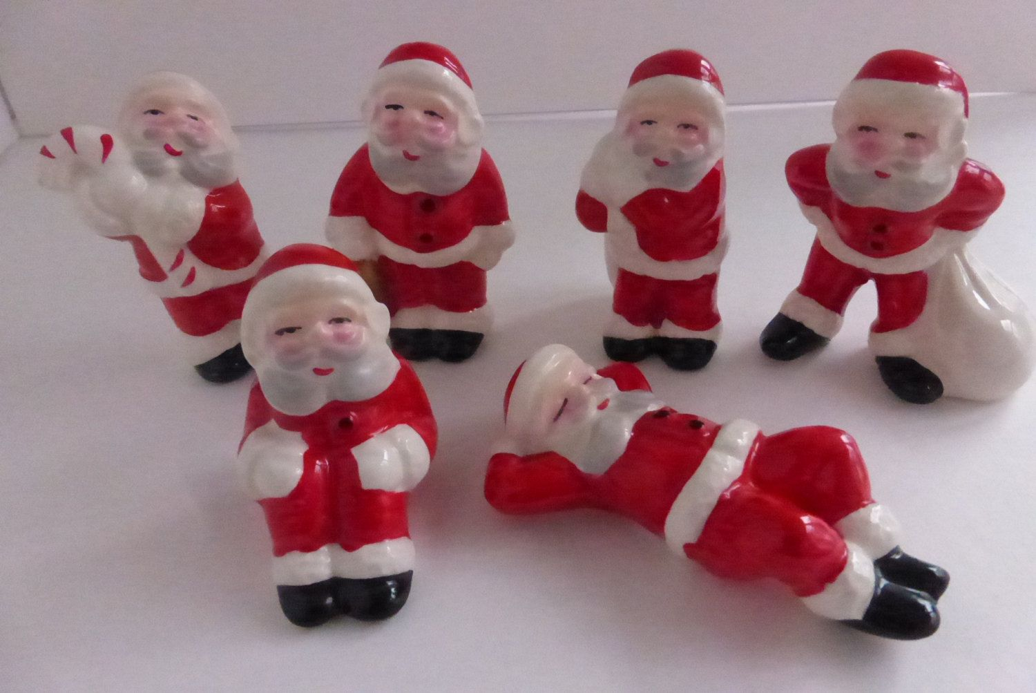 Set of 6 Mid Century Santa Figures Made in Japan by papertales on Etsy