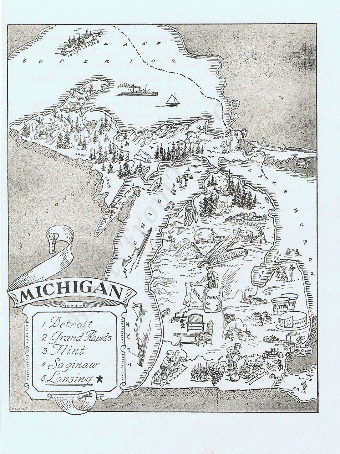 MAP of MICHIGAN Vintage Adorable Beautifully Illustrated Perfect
