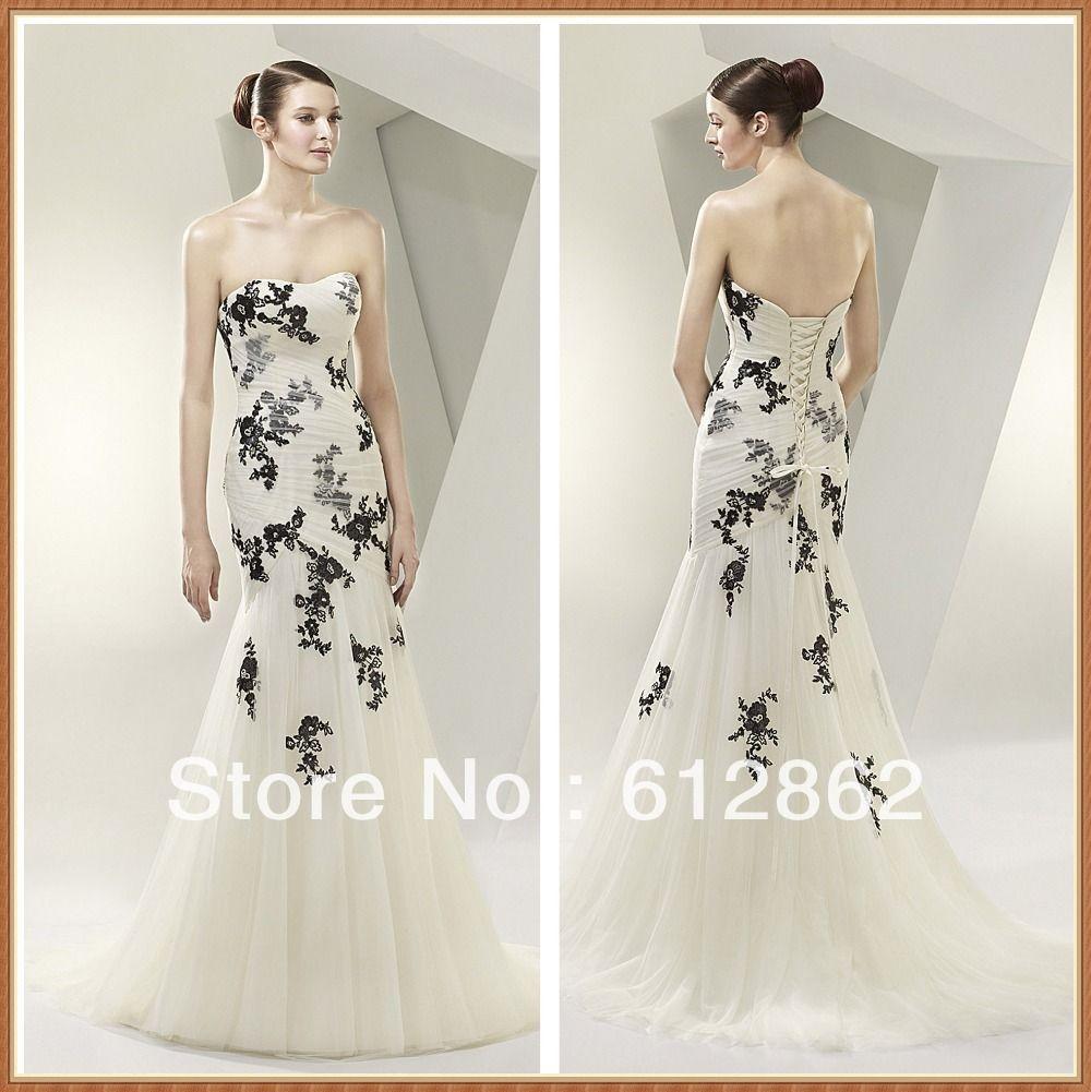 Black white wedding dress  Elegant Strapless Low Back Mermaid Lace Black And White Wedding