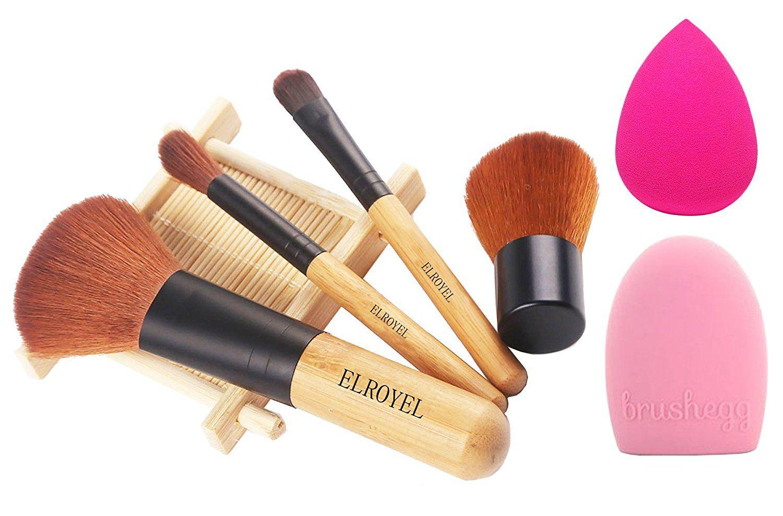 ZOREYA Makeup Brush Set 4 Piece Bamboo Brush Easy Travel