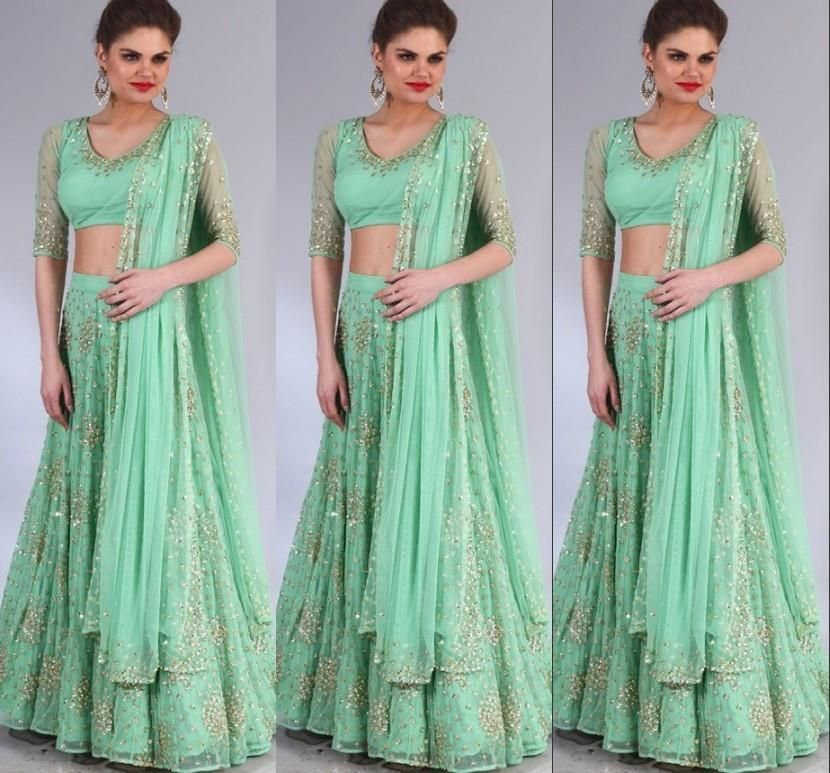 2015 Latest Pakistani Dresses Designs Green Bling Sequins Half Long ...