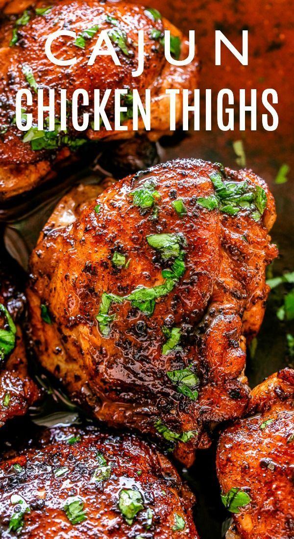 Roasted Cajun Chicken Thighs and Cauliflower Rice