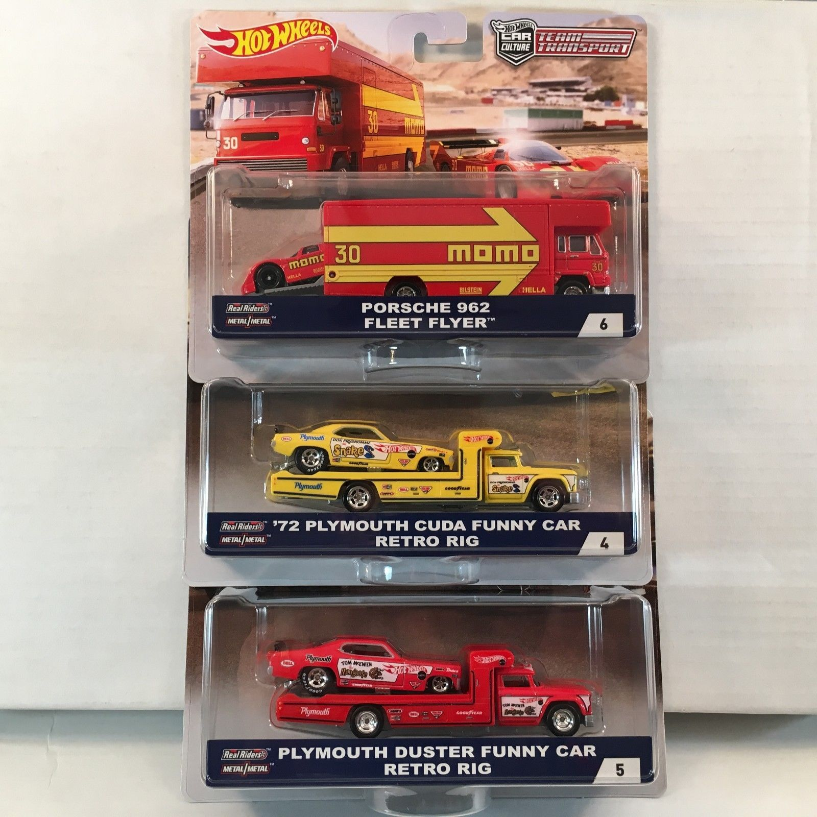 2018 Hot Wheels 50th Anniversary Car Culture Team Transport Set of 3 1//64 Scale