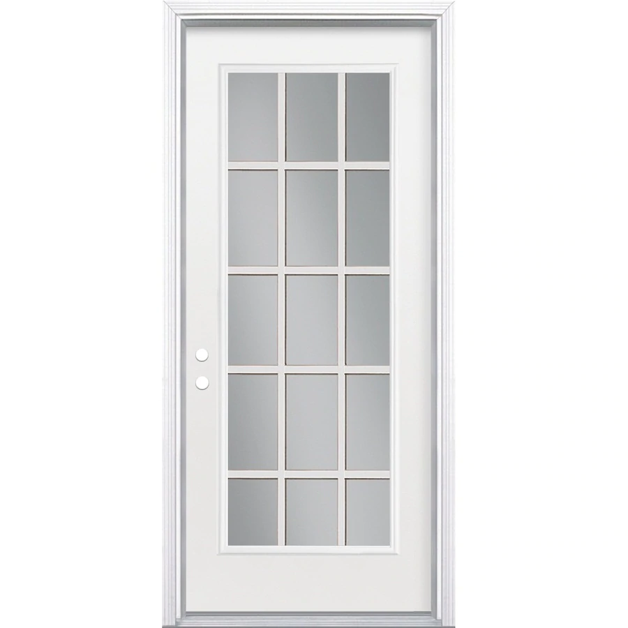 Masonite 36 In X 80 In Full Lite External Grille Right Hand Inswing Primed Steel Prehung Entry Door With Insulating Core Lowes Com In 2020 Entry Doors Steel Entry Doors Steel Doors Exterior